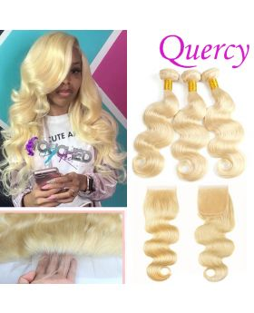 #613 10A 3 bundles with lace closure body wave