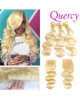#613 10A 3 bundles with lace closure 4*4inch body wave