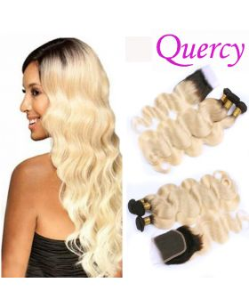T1B/613 10A 3 bundles with lace closure body wave