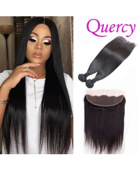 9A 2 bundles with lace frontal 13*4inch straight