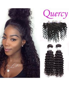 7A 2 bundles with lace frontal 13*4inch deep curl