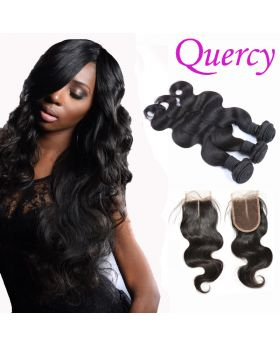 7A 3 bundles with lace closure body wave