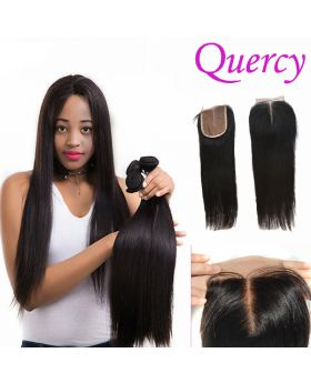 8A 3 bundles with lace closure 4*4inch straight