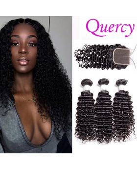 7A 3 bundles with lace closure deep curl