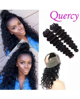 9A 2 bundles with 360 lace frontal deep wave
