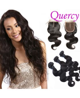 10A 3 bundles with lace closure body wave