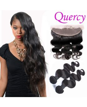 9A 2 bundles with lace frontal 13*4inch body wave