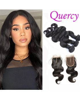 8A 3 bundles with lace closure 4*4inch body wave