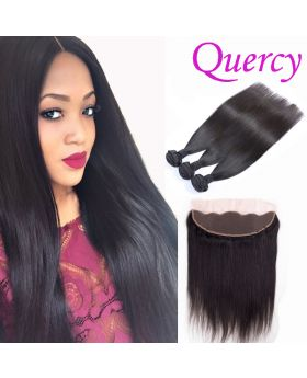 9A 3 bundles with lace frontal 13*4inch straight