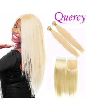 #613 10A 2 bundles with lace closure straight