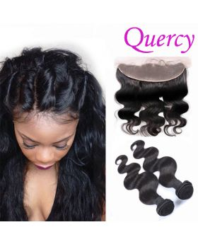10A 2 bundles with lace frontal 13*4inch body wave