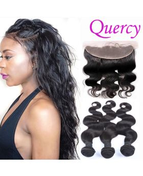 10A 3 bundles with lace frontal 13*4inch body wave