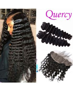 9A 2 bundles with lace frontal 13*4inch deep wave