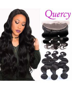 9A 3 bundles with lace frontal 13*4inch body wave