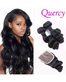 10A 2 bundles with lace closure 4*4inch loose wave