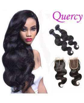 9A 2 bundles with lace closure 4*4inch body wave