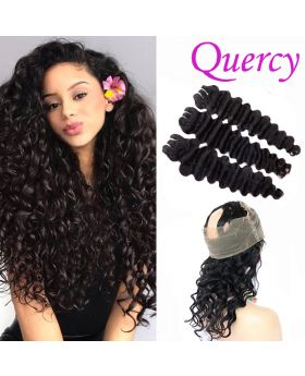 9A 3 bundles with 360 lace frontal deep wave