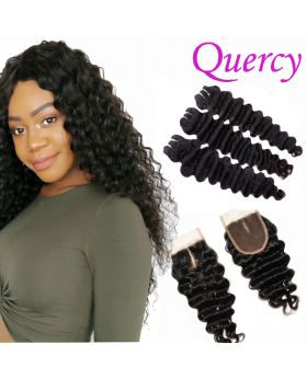 10A 3 bundles with lace closure 4*4inch deep wave
