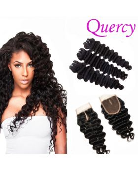 9A 3 bundles with lace closure deep wave