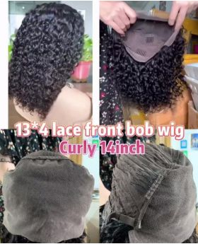 13*4 lace front bob wig curly