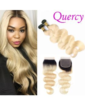 T1B/613 10A 2 bundles with lace closure 4*4inch body wave