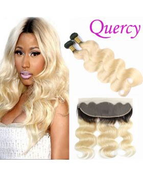 T1B/613 10A 2 bundles with lace frontal 13*4inch body wave