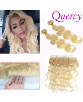 #613 9A 2 bundles with lace frontal 13*4inch body wave