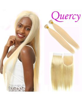 #613 7A 2 bundles with lace closure straight