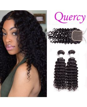 8A 2 bundles with lace closure 4*4inch deep curl