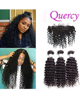 7A 3 bundles with lace frontal 13*4inch deep curl