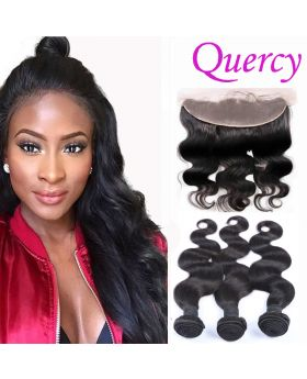 8A 3 bundles with lace frontal 13*4inch body wave