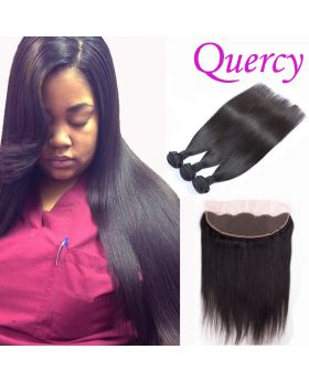 7A 3 bundles with lace frontal 13*4inch straight