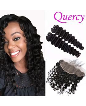 10A 2 bundles with lace frontal 13*4inch deep wave