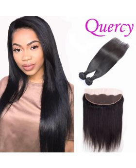 8A 2 bundles with lace frontal 13*4inch straight