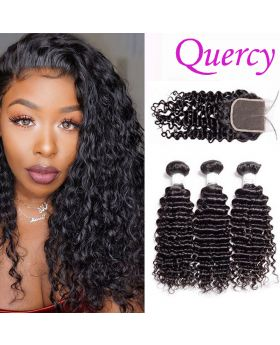 10A 3 bundles with lace closure 4*4inch deep curl