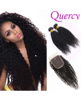 10A 2 bundles with lace closure 4*4inch kinky curl