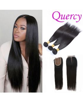 10A 3 bundles with lace closure 4*4inch straight