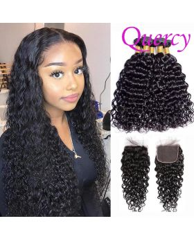 9A 3 bundles with lace closure water wave