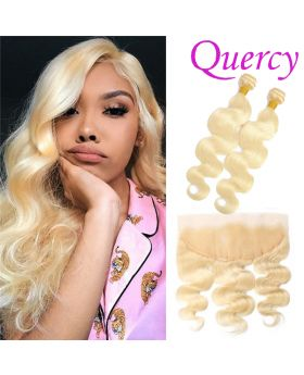 #613 10A 2 bundles with lace frontal 13*4inch body wave