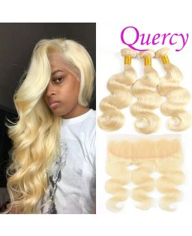 #613 10A 3 bundles with lace frontal 13*4inch body wave