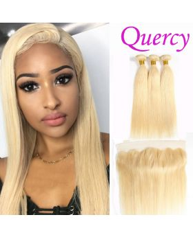 #613 7A 3 bundles with lace frontal 13*4 straight