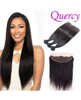 10A 3 bundles with lace frontal 13*4inch straight