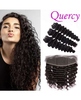 9A 3 bundles with lace frontal 13*4inch deep wave