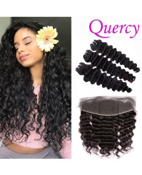 10A 3 bundles with lace frontal 13*4inch deep wave
